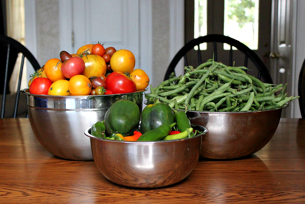 Garden Fresh Produce in bowls on a table