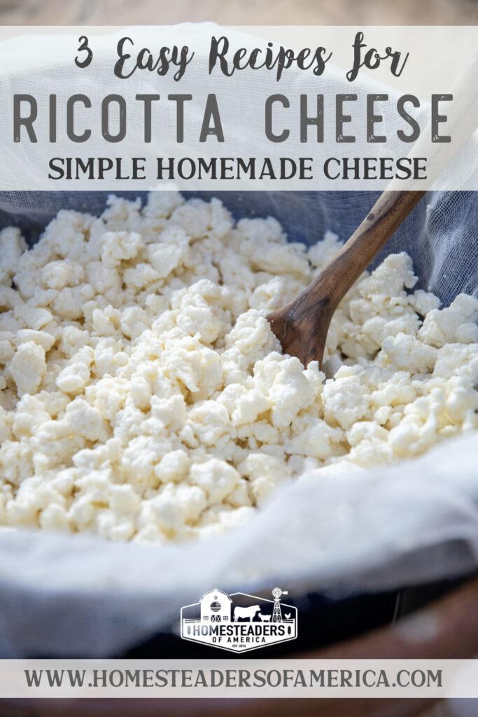 3 Ways to Make Homemade Ricotta Cheese #homesteading #ricottacheese #cheesemaking #ricotta #homemade #cheese